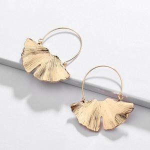 Boho Dangle Statement Earrings Metal Leaf Gold